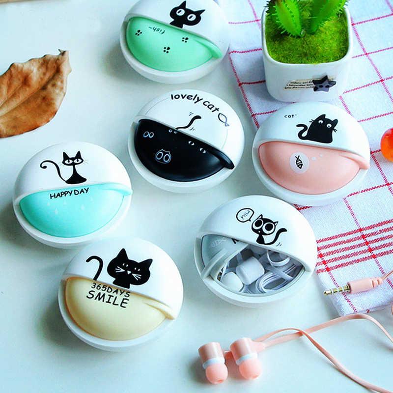 Kot kreskówka słuchawki 3.5mm douszne słuchawki Stereo z mikrofonem słuchawki etui na telefon dziewczyny dziecko dziecko uczeń dla MP3 MP4 prezenty