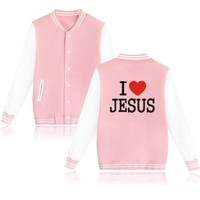 2016 The New Cool Jesus Christian Design Autumn New Print Women Baseball Jackets And Street Wear