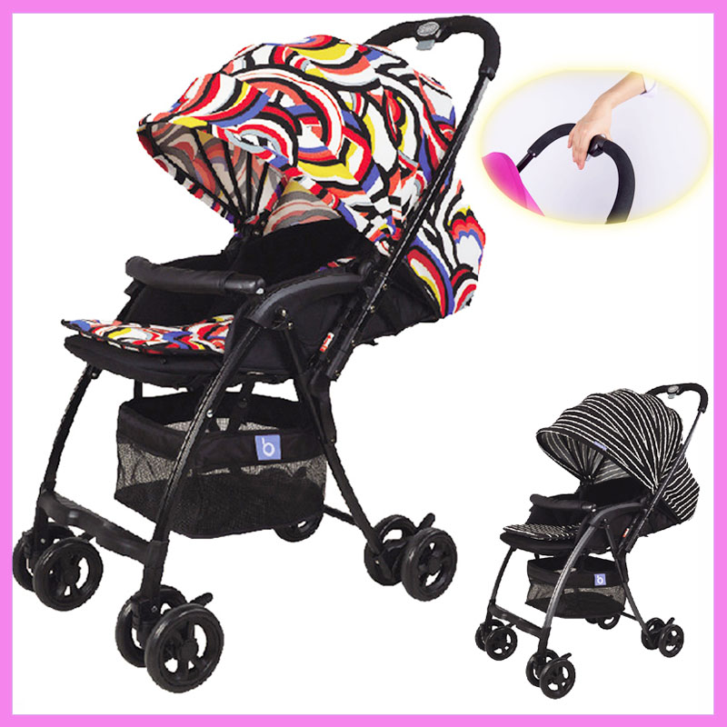 Ultra Baby Stroller Portable Umbrella Lying Baby Stroller Carriage Folding Cart Quick Folding Footrest Bottom Basket Travel Car mige stroller baby trolley cart folding baby carriage baby cart can be lying on the baby cart portable cart pram with 3 gift