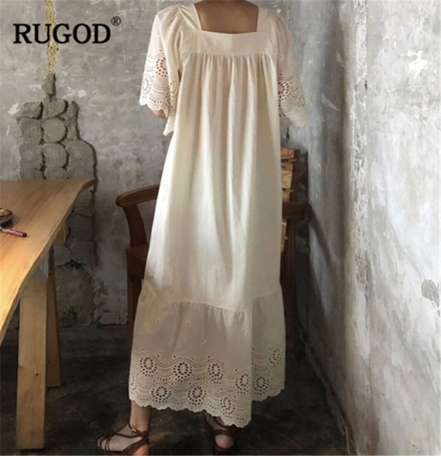 RUGOD 2019 nouveauté femmes solide broderie évider robe col carré manches évasées droite lâche Vestidos robe élégante
