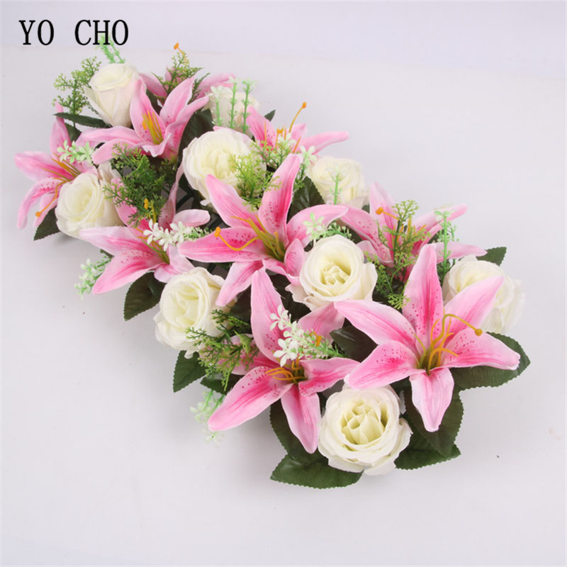 Wedding Road Cited Flower T Stage Wall Row Artificial Silk Rose Lily Pink Decora