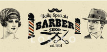 Retro Hairdresser Tattoos Patterned kraft Paper Poster Barber Shop Decor Barber Tools Shave Hair Salon Wall Stickers 30X60CM D(China)
