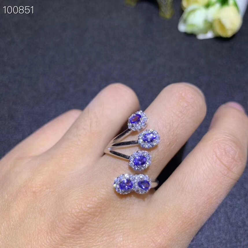 Leading the world in popularity beautiful flower shaped style natural tanzanite ring multi grain natural stone