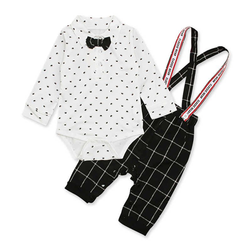 baby boy long sleeve clothes 2019 newborn set infant toddler outfits cotton white bodysuit+black overalls 2 pieces set for 6-24M