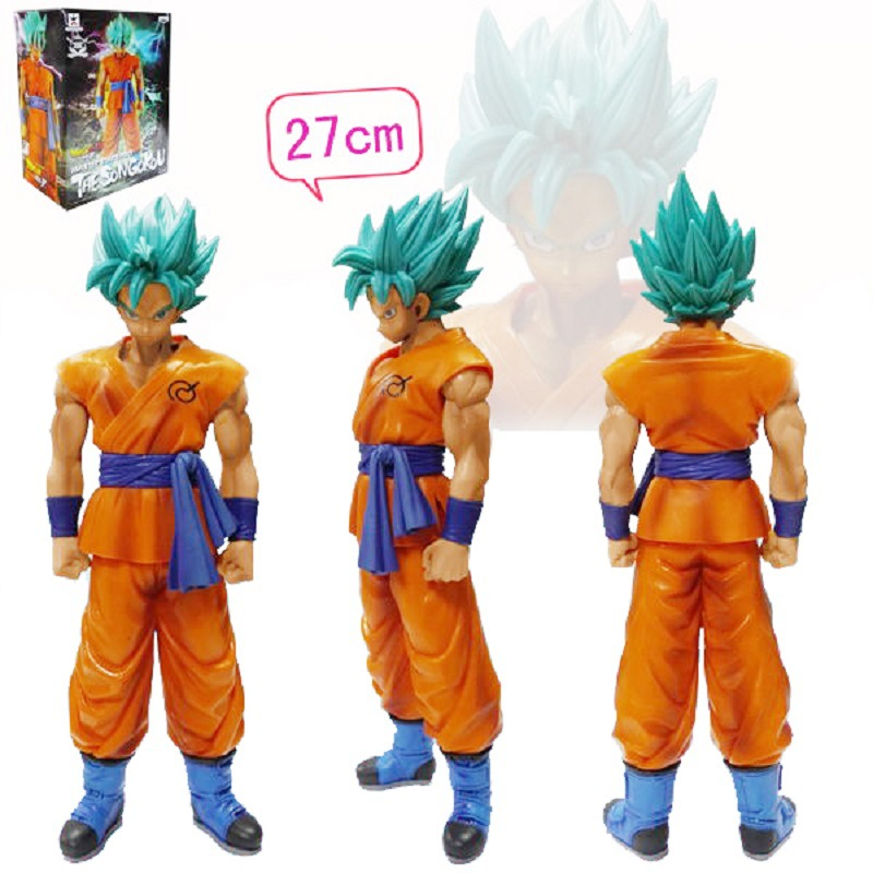 27cm PVC Dragonball Kakarotto Son Goku Action Figure Super Saiyan blue car Furnishing Articles Model Holiday gifts Ornament toy  the walking dead action figure zombie figures head resin crystal car ornament home desk decoration furnishing articles