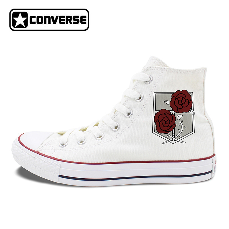 White Black Converse All Star Shoes Attack on Titan Military Police Regiment Logo Stationed Corps Men Women Canvas Sneakers