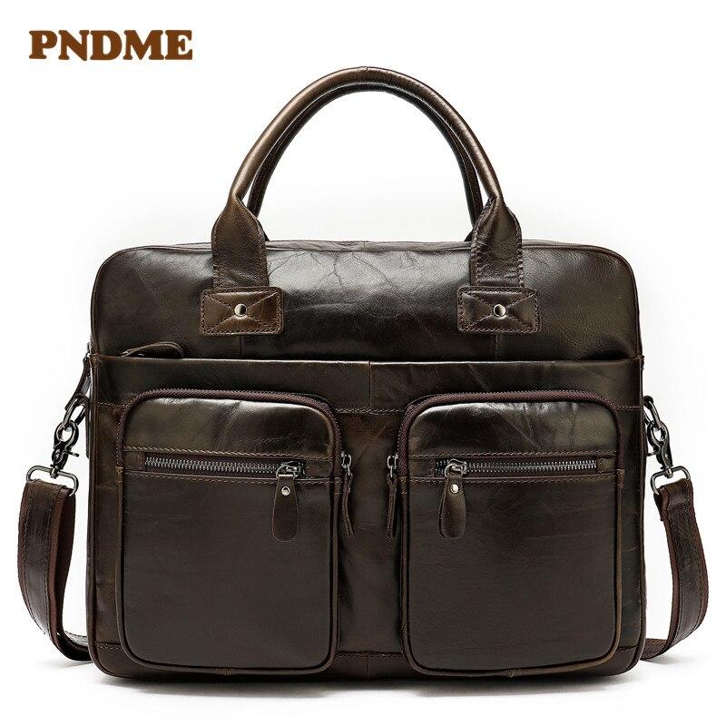 Real Leather Bag Large Capacity Vintage Men's Single Shoulder Bag Business Briefcases Crossbody Bag