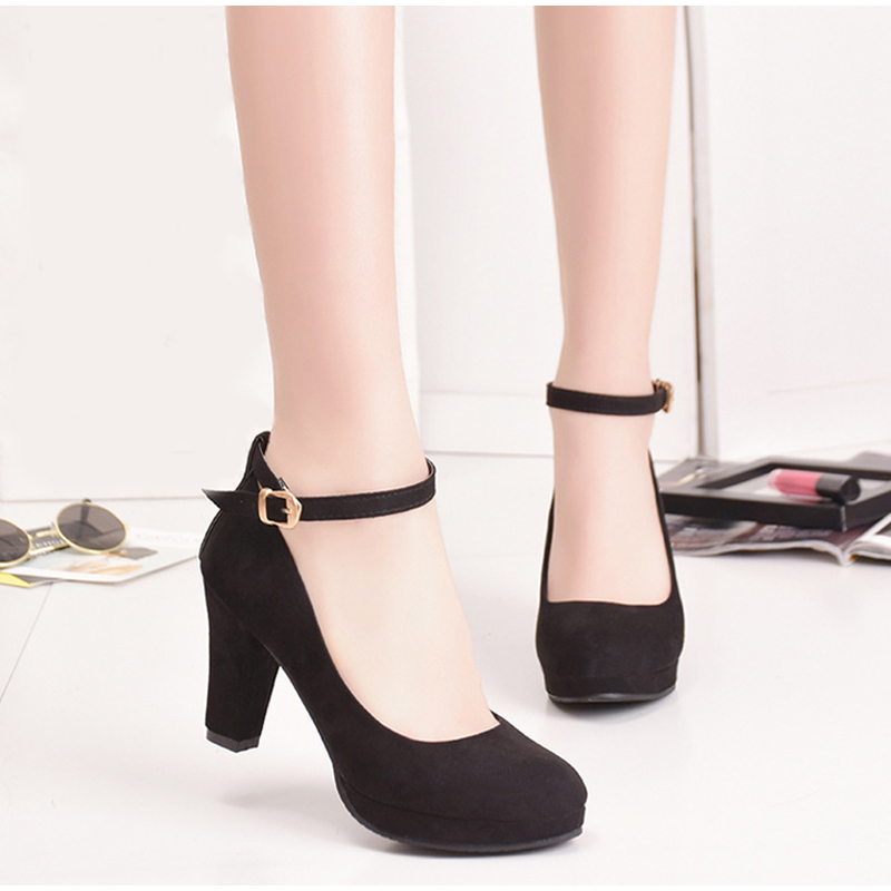 Mary Janes Pumps Platform Toe-Shoes Ankle-Strap Flock Classic Round High-Heels Black