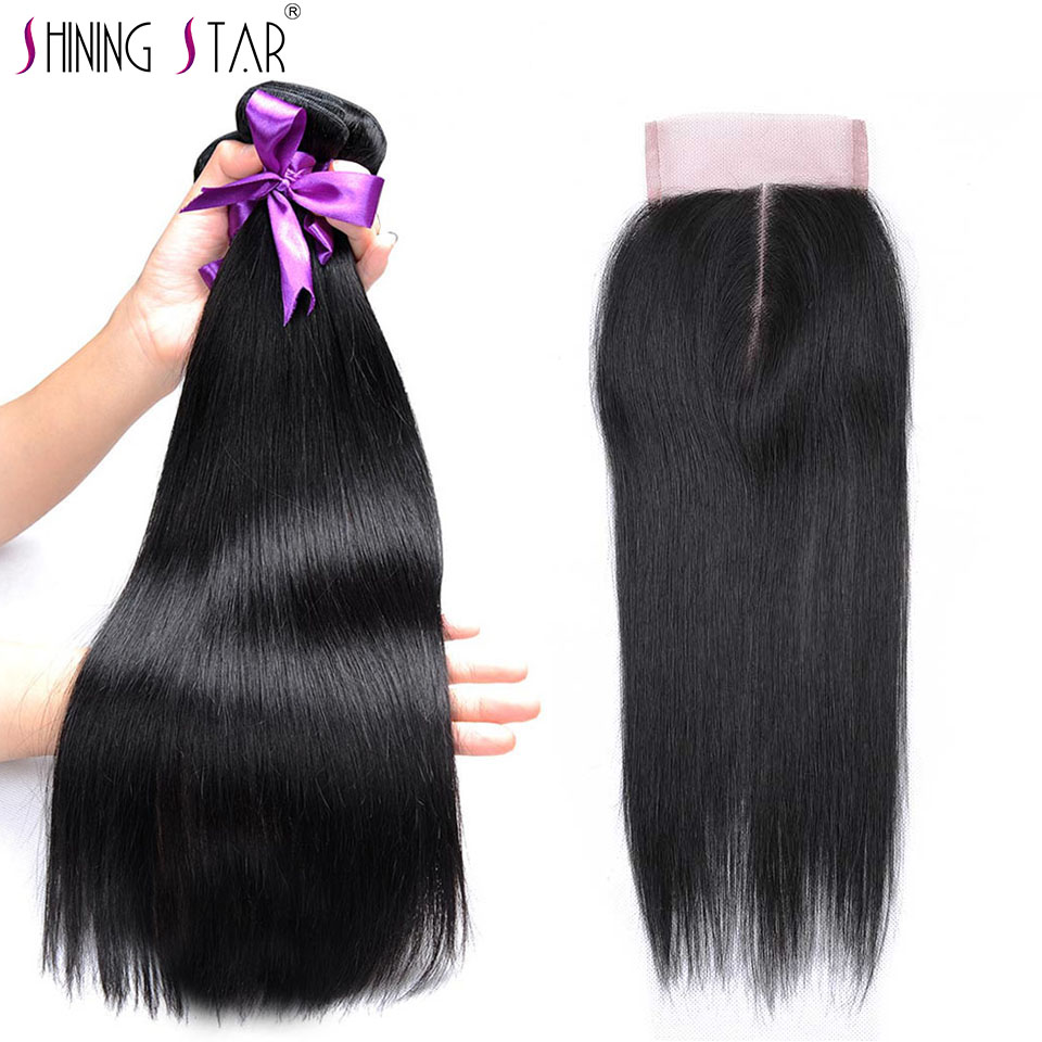 Colored 1B Straight Brazilian Hair 3 Bundles With Closure 100 Human Hair Weave Bundles With Closure