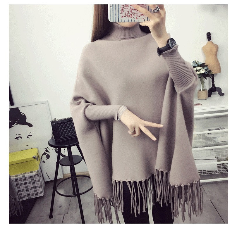Hot 2018 new Autumn and winter maternity High Collar sweater long jacket bat shirt loose sweater pregnancy clothes maternity clothes sweater women loose large size tassel bat shirt high collar shawl thickening autumn winter pregnancy clothing