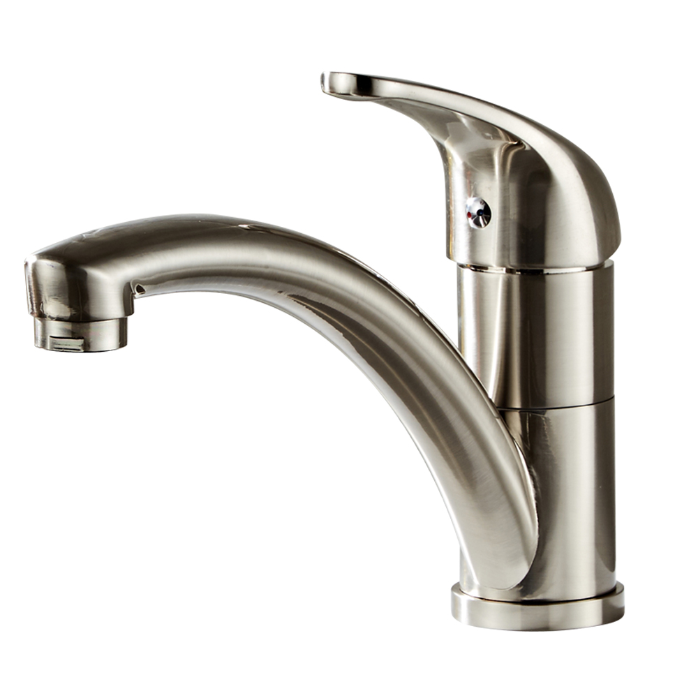 Kitchen Fixed Faucet-Long Mouth Brushed Finish Kitchen Faucet Sprayer Stainless Steel Sink Faucets Hot & Cold Mixer Tap Single
