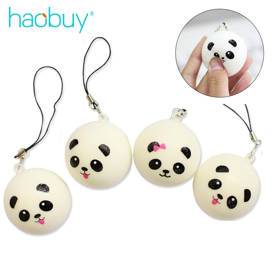 imágenes para Haobuy Universal 4 cm Lindo de la Historieta Mini Gorditas Negro Blanco Panda Panda Blando Pan Teléfono Colgante Suave Cabeza Encantos Del Teléfono correa