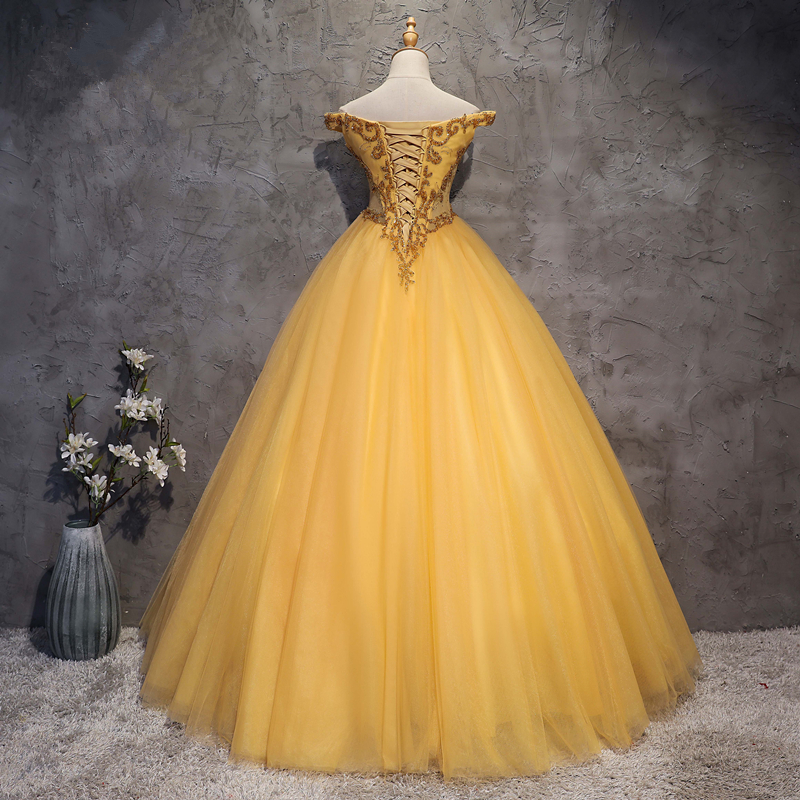 75217038eaa abule Quinceanera Dresses 2018 srtapless lace up Gold ball gown prom dress  appliques Gown 15 Years Layer Tulle Custom sizes -in Quinceanera Dresses  from ...
