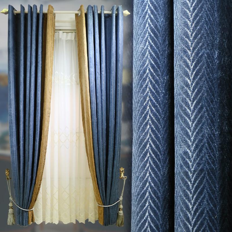 Custom Curtains Nordic Splice Livingroom Cotton Geometry Jacquard Chenille Bedroom Window Cloth Blackout Curtain Tulle M676