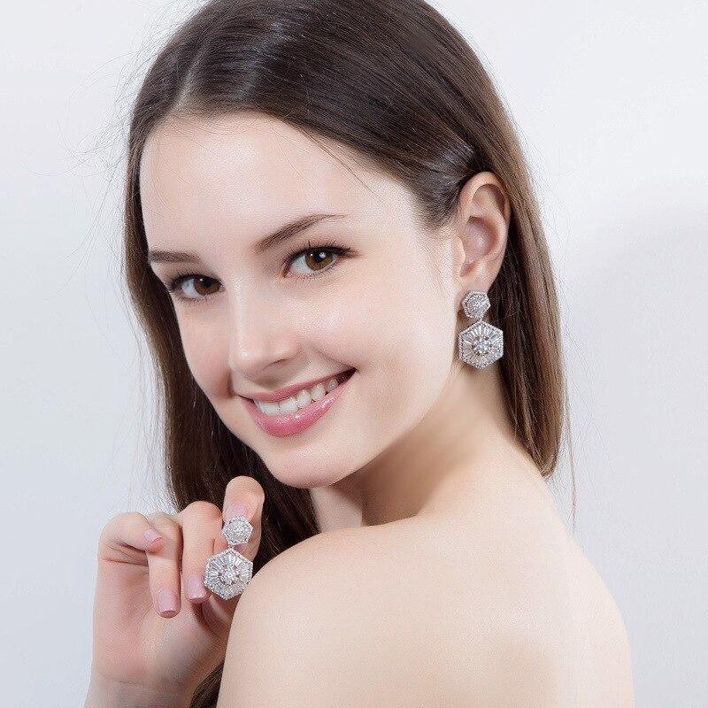 Bilincolor fashion trendy crystal clear zirconia dangling drop wedding bridal earrings for women
