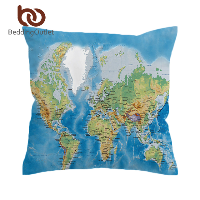 Beddingoutlet World Map Cushion Cover Vivid Printed Pillow Case