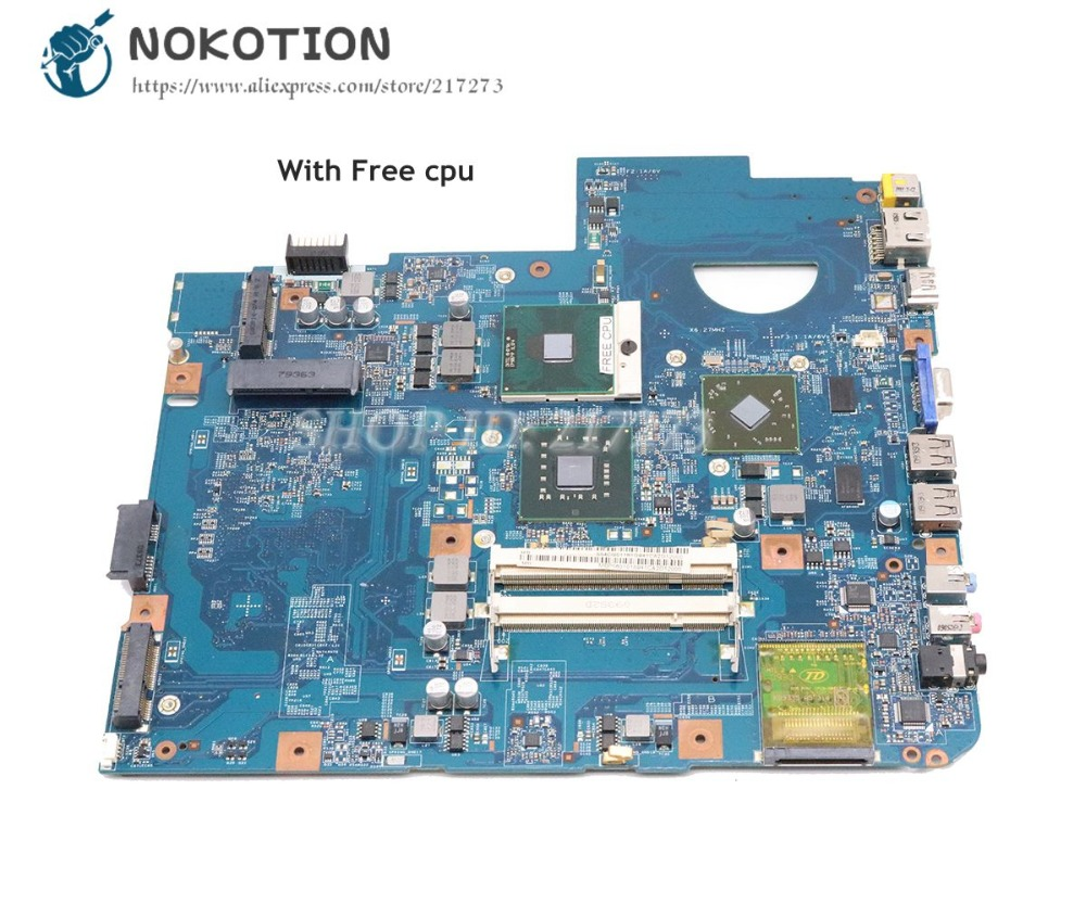 NOKOTION For Acer Aspire 5738 Laptop Motherboard DDR2 Free Cpu 48.4CG07.011 MBP5601015 MBPKE01001