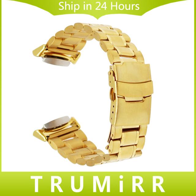 Venda de Reloj de Acero inoxidable + Adaptadores + Tool para Samsung Engranaje S2 SM-R720/R730 Muñeca Correa de Seguridad Hebilla de Cinturón de Pulsera 4 colores
