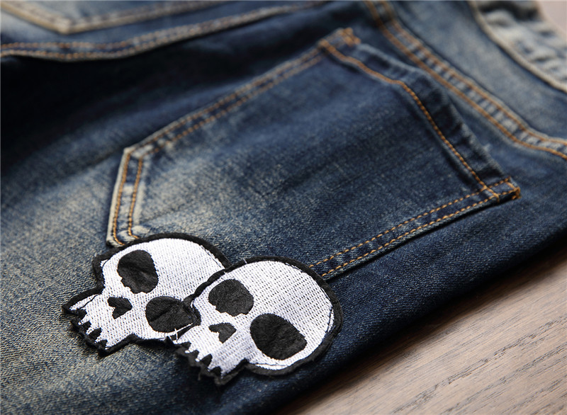 Mcikkny 2019 Mens Fashion Ripped Jeans Straight Patchwork Denim Trousers Hip Hop Skull Embroidered Jeans Pants For Male (2)