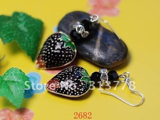 Free Shipping-wholesale Ladies Jewelry Handpainted Enamel Strawberry Pendant Earring Wedding Gifts 40pairs Mixed Lot