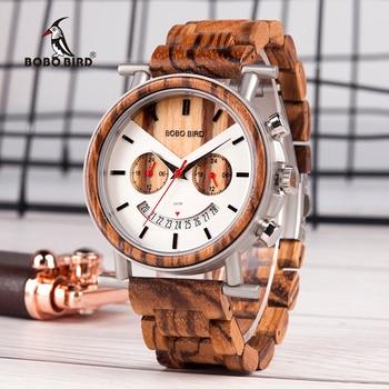 BOBO BIRD Men Wooden Watch Wood Quartz Saat erkek Wristwatches Male Stopwatch Japanese movement Show Date Gift 2 time zone