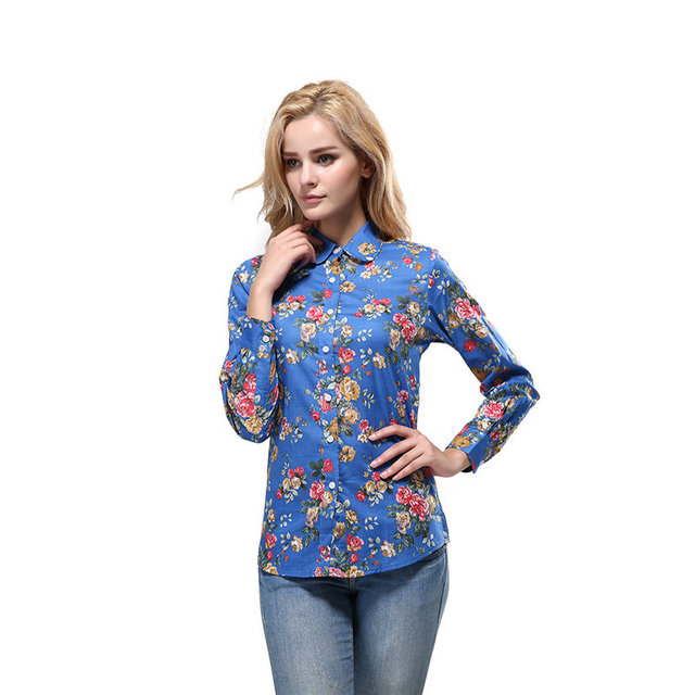Plus Size S - XXXXL 5XL 2016 Autumn Winter Long Sleeve Print Floral Turn Down Collar Vintage Office Blouse Women Blusas Shirts