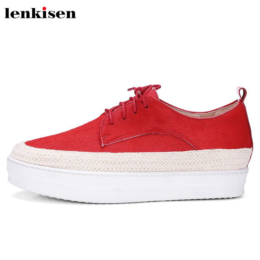 Lenkisen horsehair round toe lace up increased causal shoe med heel thick bottom sweet party handmade women vulcanized shoes L73
