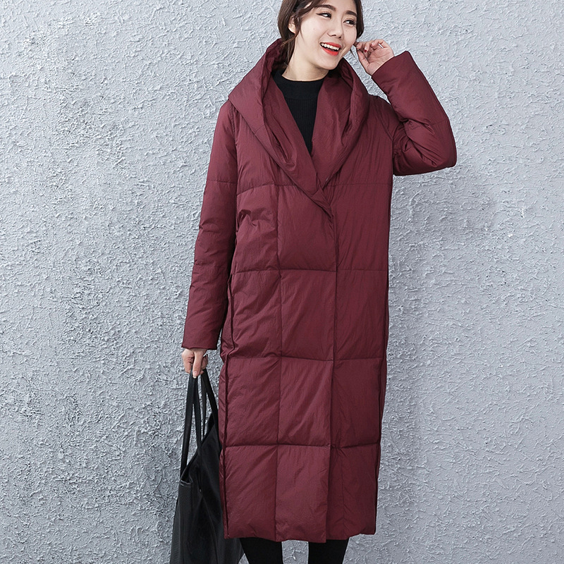 Women X-Long Hooded Down Parka White Duck Down Jacket 2018 Winter Thicken Solid Casual Down Coat M/L
