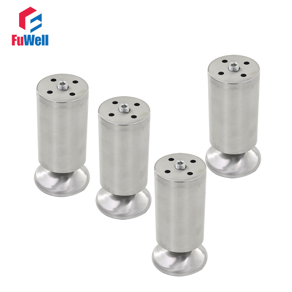 4pcs 150mm Height Furniture Legs Adjustable 10-15mm Cabinet Feet Silver Tone Stainless Steel Leveling Feet for Table Bed Sofa bqlzr 150x63mm square shape silver black adjustable stainless steel plastic furniture legs sofa bed cupboard cabinet table bench