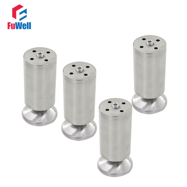 4pcs 150mm Height Furniture Legs Adjustable 10 15mm Cabinet Feet Silver  Tone Stainless Steel Leveling