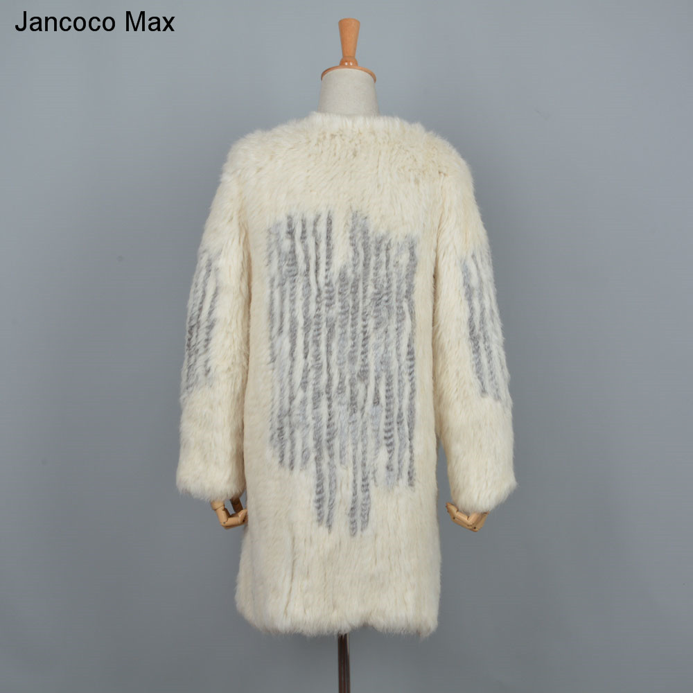 Supérieure Survêtement Jancoco Manteaux Qualité 2019 Tricoté Lapin Fourrure De Chaud Nouveau D'hiver Femmes Réel Long Beige S7252 Max P4Oxfqrw8P