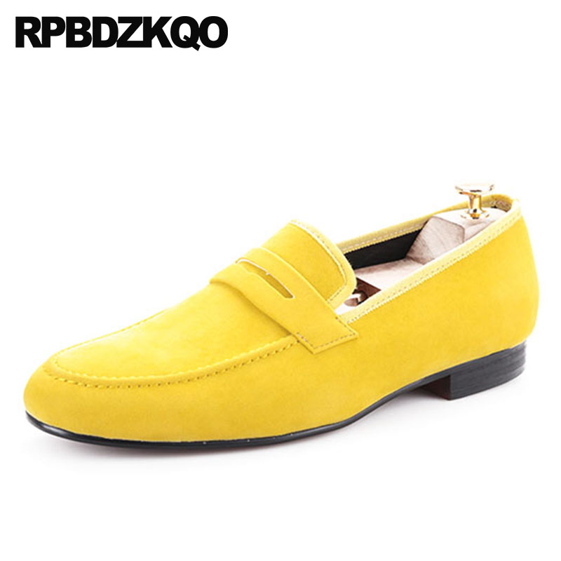 cc4100b2a4 Flats Custom Loafers European Deluxe 11 47 Plus Size Brand Yellow Velvet  Summer Men Party Shoes Classic Black Smoking Slippers