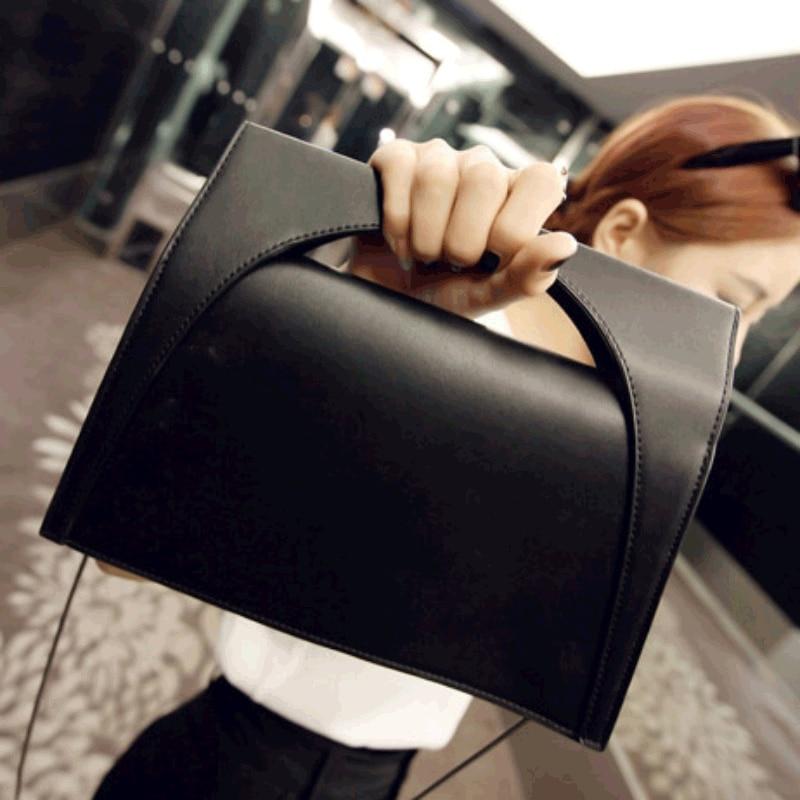 e850bb25f4e4 2016 Новая Мода Роскошные Для женщин сумки цепь сумка из искусственной кожи  Черный известный дизайнер Простые Стильные Для женщин сумка