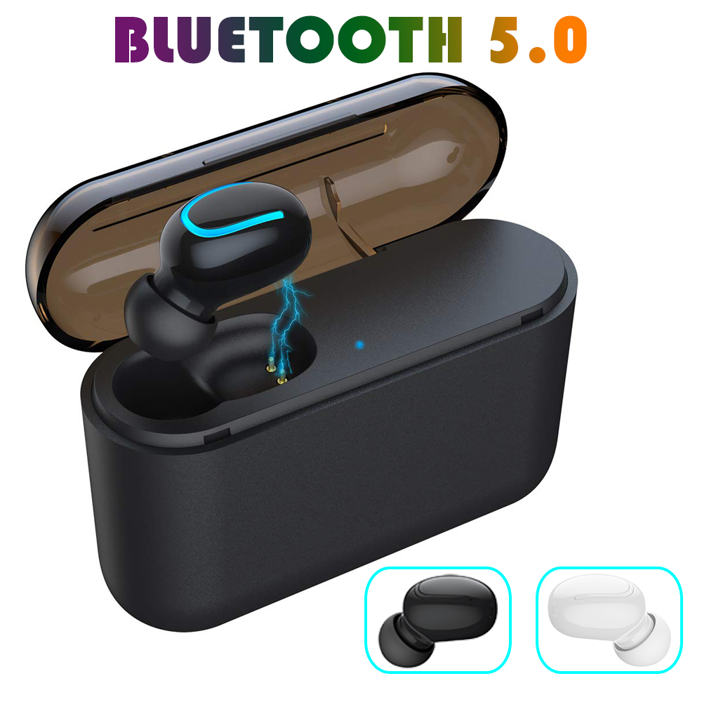 Business Earbud Wireless Earphone Single Bluetooth Earphone Headphone with Microphone for IOS Android Mobile Phone Laptop PC