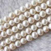 Free shipping 5 strands wholesale 6 7mm natural white freshwater cultured pearl round beads jewelry making 15inch YE2093