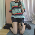 T camisa Femmes 2017 Verão Mais Novo Blusas Coréia Ulzzang Harajuku Rainbow Listrado O Pescoço T-shirts Para As Mulheres Casual Solto T Tops