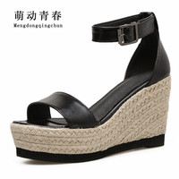 New Spring Women Sandals Fashion Gladiator Wedges High Heel Shoes Women Casual Buckle Strap Shallow Cover