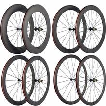 קל במיוחד פחמן אופניים זוג גלגלי 38/50/60/88mm נימוק מכריע פחמן גלגלים צינורי כביש אופני גלגל בזלת משטח בלימה