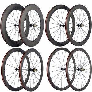 Image 1 - Paire de roues de vélo en carbone Ultra léger 38/50/60/88mm roues de pneu en carbone roue de vélo de route tubulaire Surface de freinage en basalte