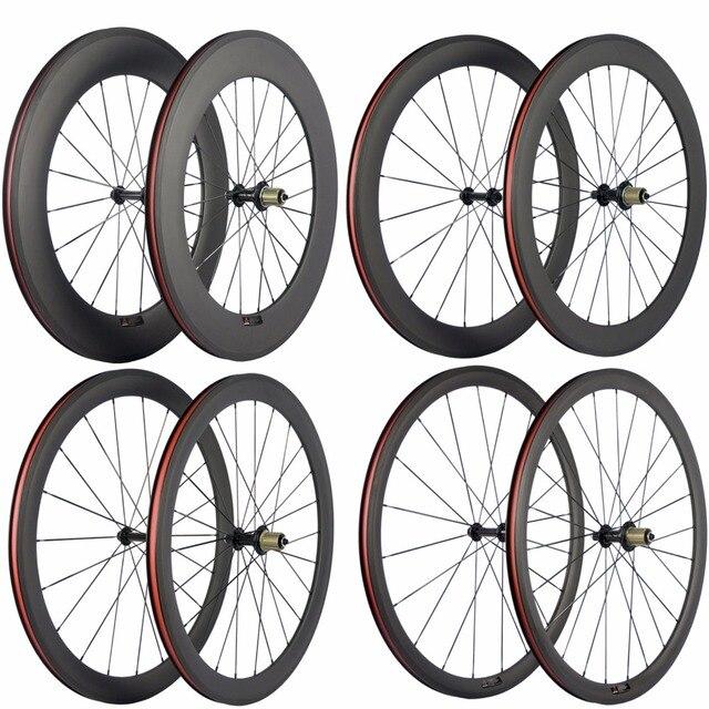 Paire de roues de vélo en carbone Ultra léger 38/50/60/88mm roues de pneu en carbone roue de vélo de route tubulaire Surface de freinage en basalte