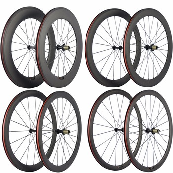 цена на Ultra Light Carbon Bicycle Wheelset 38/50/60/88mm Carbon Clincher Wheels Tubular Road Bike Wheel Basalt Braking Surface