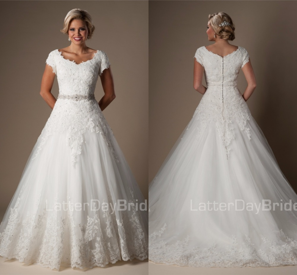 Beads Lace Ball Gown Modest Wedding Dresses With Short Sleeves