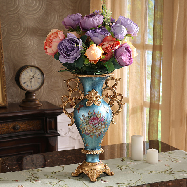 European Style Luxury Decoration Living Room Decor Home Furnishing Resin  Vase TV Cabinet Floral Arrangement Handicrafts