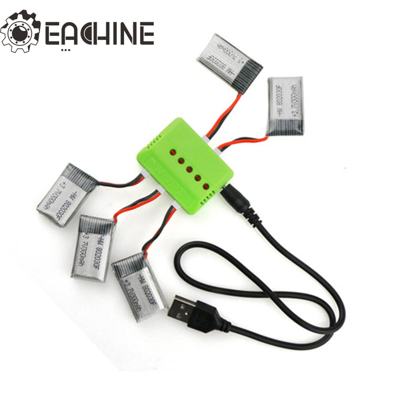 Newest <font><b>Eachine</b></font> E55 FQ777 FQ17W 5pcs 3.7V 300mAh <font><b>45C</b></font> <font><b>Battery</b></font> With 1 to 5 Charger Cable For RC Quadcopter Spare Part Toys