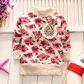 BibiCola niña, además de terciopelo camisetas muchachas de los cabritos tops flores que basa la camisa niños cartón suéter camisa 2017 de los niños trajes