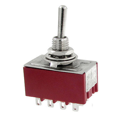 AC 250V 2A 125V 6A ON/OFF/ON 3 Position 4P2T 4PDT 12 Pins Toggle Switch Latching 5pc lot free shipping new long flat handle 3 pin on off on spdt cqc rohs silvery point rocker toggle switch ac 6a 125v 3a 250v