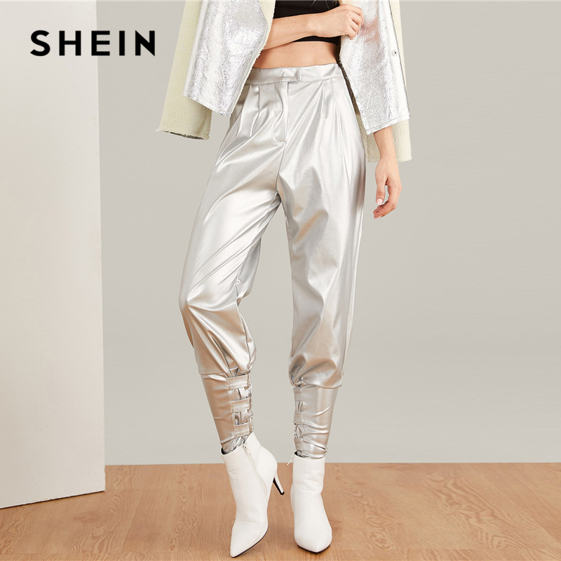 fc3046e8cc SHEIN Silver Faux Leather Cigarette Buckle Pants Rock Tapered Carrot Button  Zipper Fly Crop Trousers Women Plain Autumn Trousers-in Pants & Capris from  ...