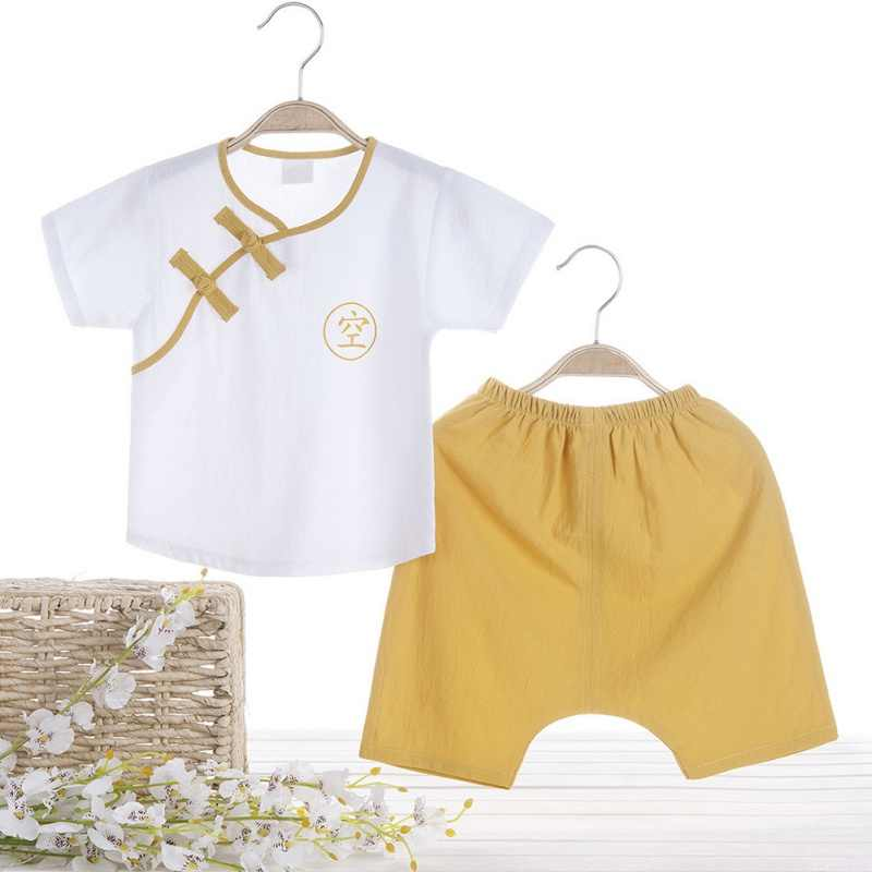 夏の子供服中国風の服スーツ男の子唐装半袖トップス + ショートパンツボーイズ服セット 0-4Y 新 C
