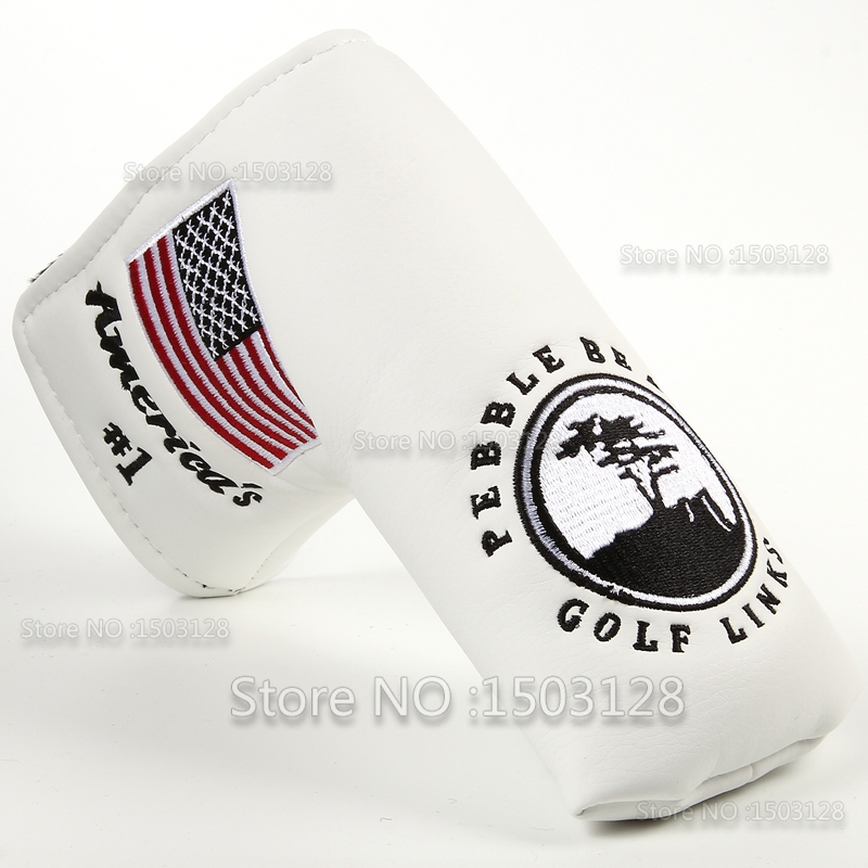 Image 2 - New USA American No.1 Flag Long LifeTree White Golf Putter Cover Headcover  Closure for Blade Golf Putter Free Shipping-in Club Heads from Sports & Entertainment