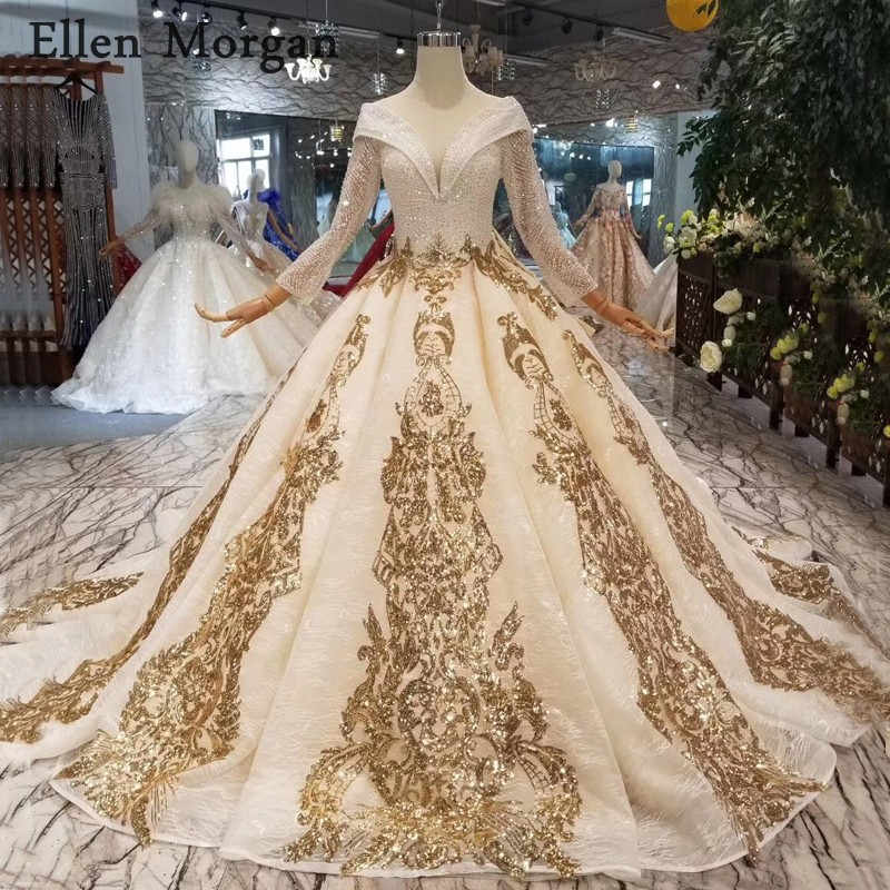Champagne Glitter Fabric Ball Gowns Wedding Dresses 2019